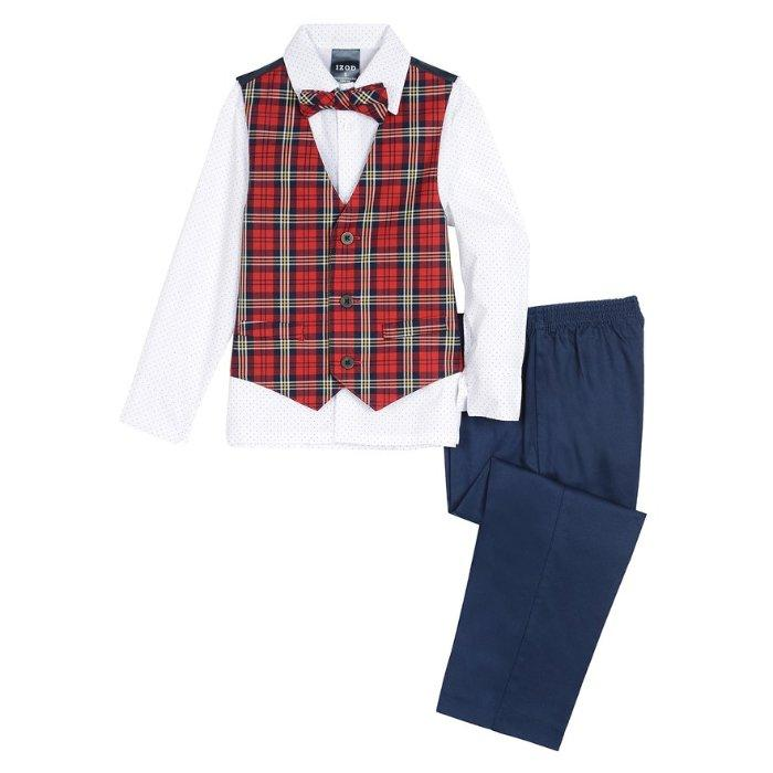 Boys IZOD outfit 2T 3T 4T 5 6 NWT navy blue vest shirt bow tie khaki Easter pant