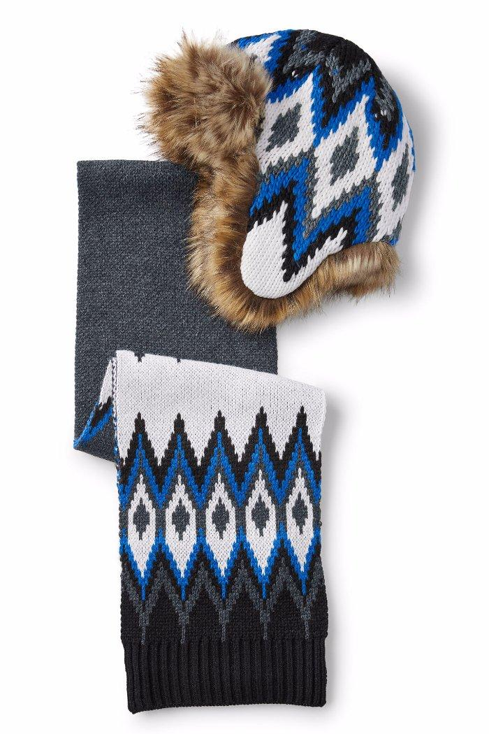7af3620620746 Details about LANDS END Little Boys XS S Chunky Knit Fair Isle Trapper Hat    Scarf Set NWT  49