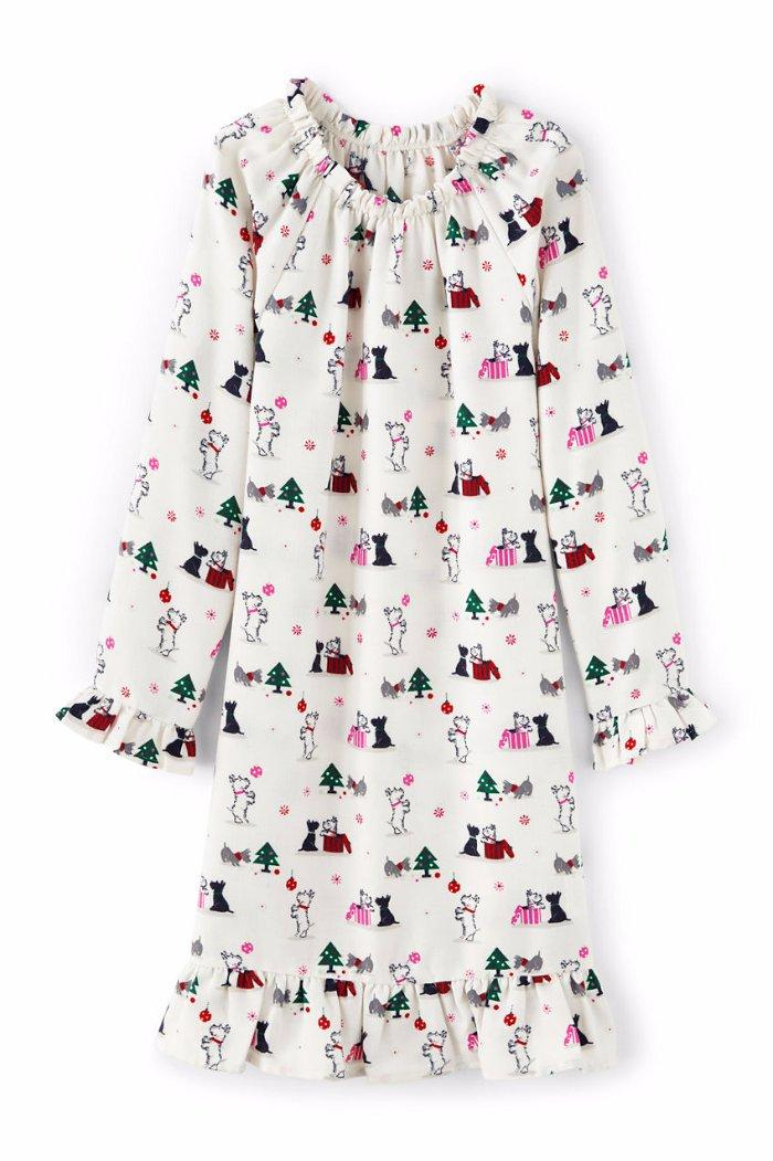 LANDS/' END Girls/' 2T Ivory Scottie Dog Print Flannel Nightgown NWT