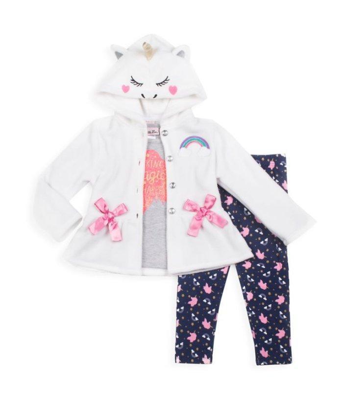 Pink Little Lass Girls Unicorn Ruffle Romper 4-6x