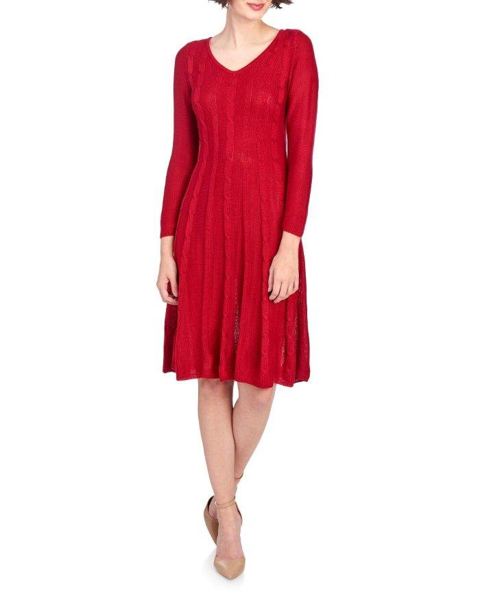 Nine West 174 L Red Cable Knit Fit Amp Flare Sweater Dress Nwt