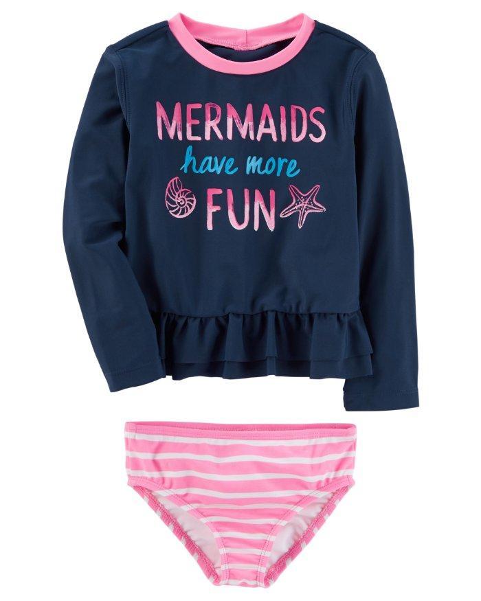 OSHKOSH B/'GOSH® Baby Girl 6-9M 9-12M Mermaid Rashguard Swim Set NWT