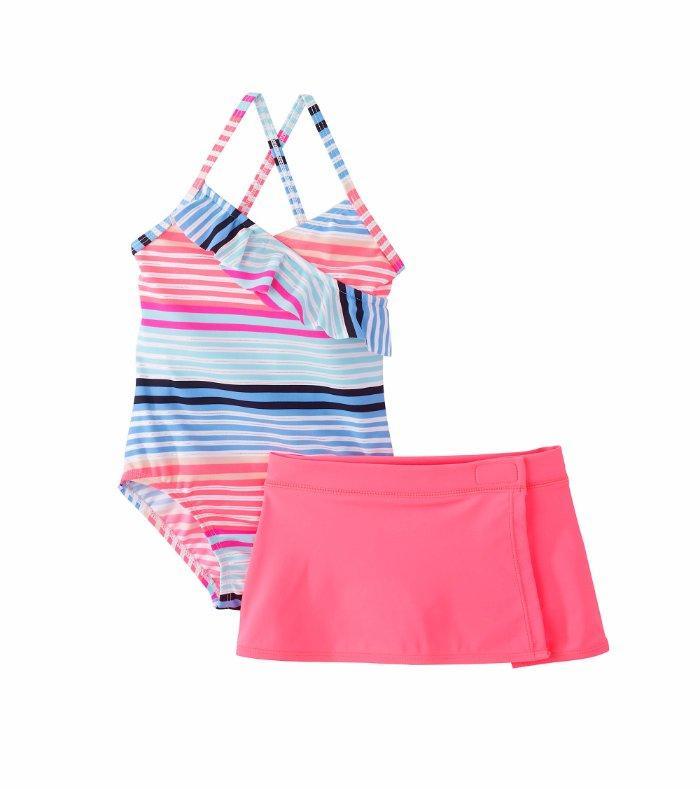 ab220855fc Details about OSHKOSH B'GOSH® Little Girls' 4, 5, 6X Striped 2-Pc. Swimsuit  & Skirt Set NWT