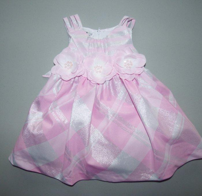 BONNIE JEAN BABY® 12M 24M Pink Plaid /& Rosette Lurex Dress NWT