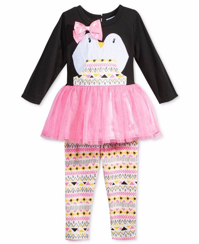 Baby Girls Striped Tutu Tunic /& Leggings Set Cat /& Jack Red Cream NB-18M