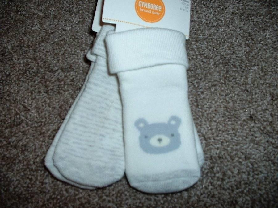 Gymboree Brand New Baby Boys Gray Bear Stripe Socks 2pk Size 3-6 months mos NWT