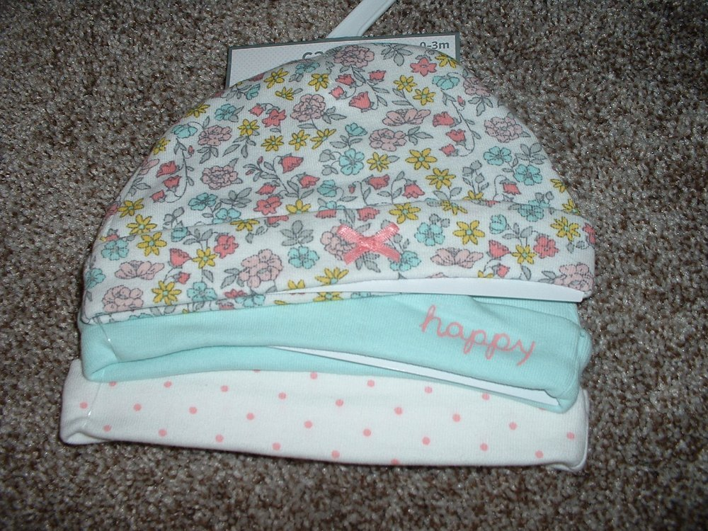 Carters Hats Baby Girl Precious Prints 3pk Set Size 0-3 months 3M 3 Caps NWT NEW
