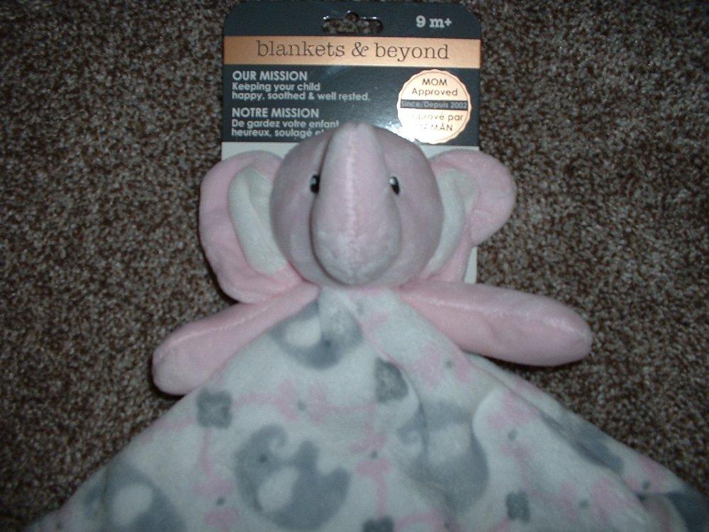 NWT Blankets /& Beyond Pink Elephant Security Blanket White Gray Nunu Lovey Toy