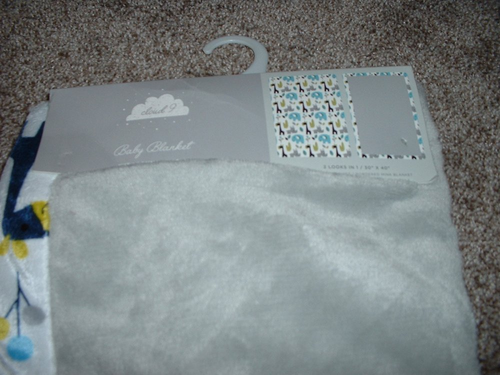 Details about Cloud 9 Jungle Baby Blanket Gray White Blue Minky Infant Boys Giraffe NWT RARE