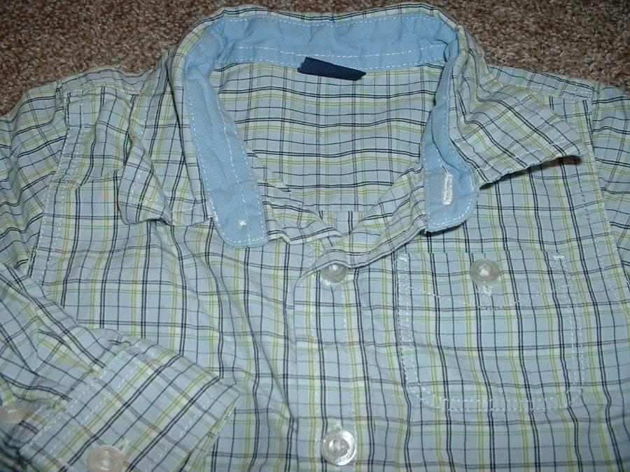 NEW GAP babyGap Boys Long Sleeve Blue Pattern Button-Up Casual Dress Shirt *1K