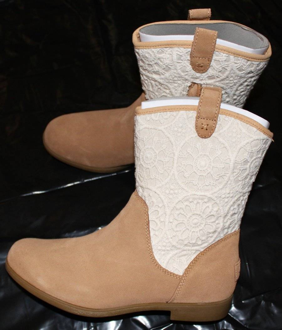 4cb5c787bad Details about NEW Ugg Big Girl's Tan Dahlia Lace Suede Cowboy Boots 6 NIB