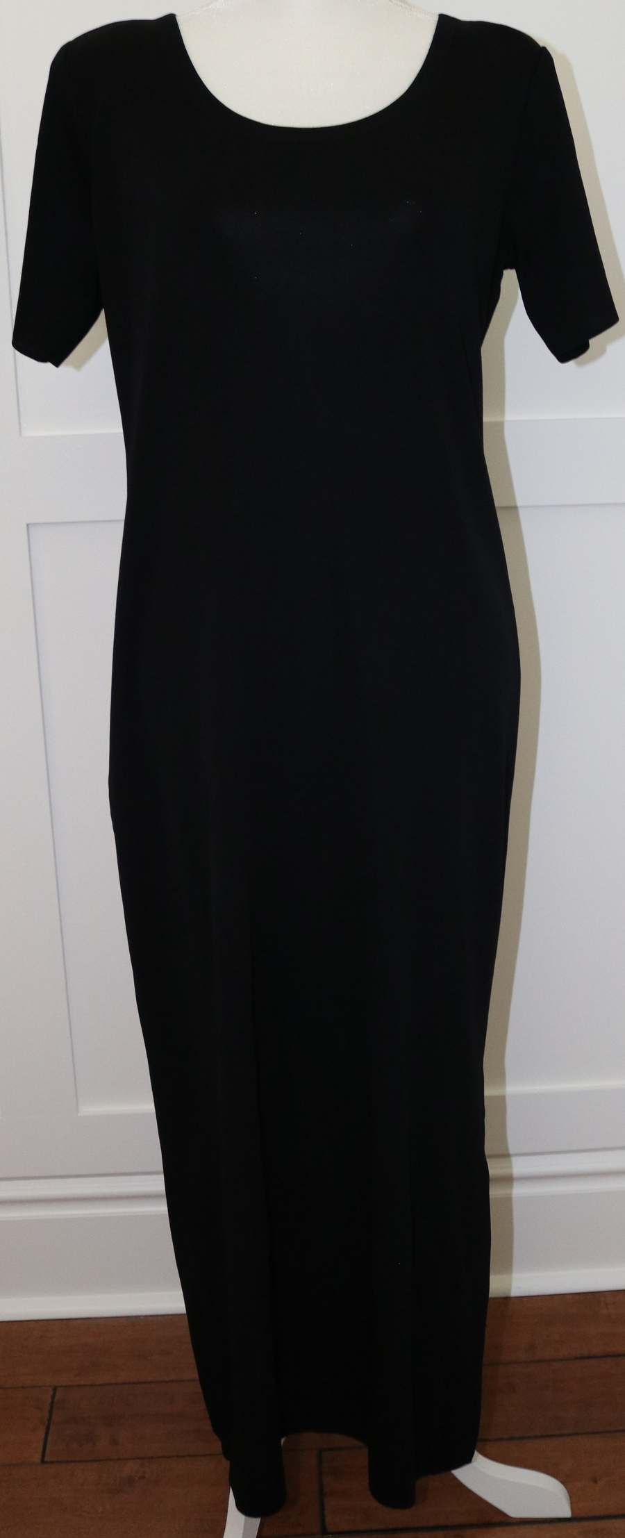 Exclusively Misook Black Short Sleeve Maxi Dress Size Petite Small Ps Ebay