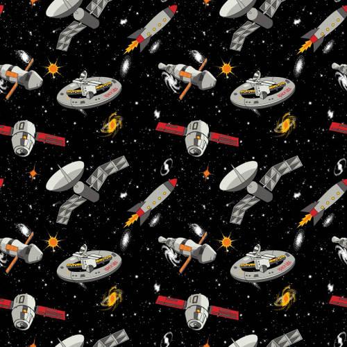 Blank SPACEWALK Black 9029G 99 Glow In The Dark Quilt Fabric By The Yard
