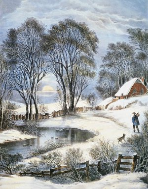 Winter Scene Cabin Stream By Currier And Ives Vintage Art