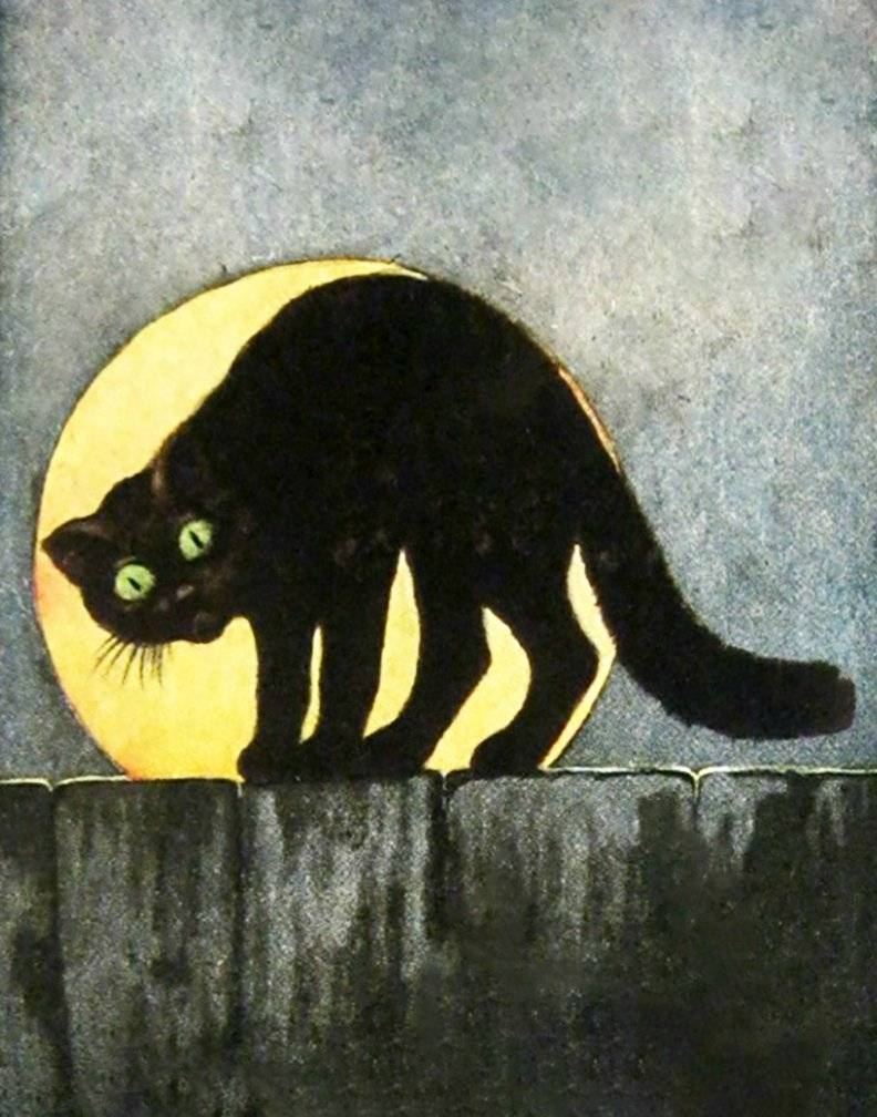 Halloween Black Cat Moon 11 x 14 Vintage art