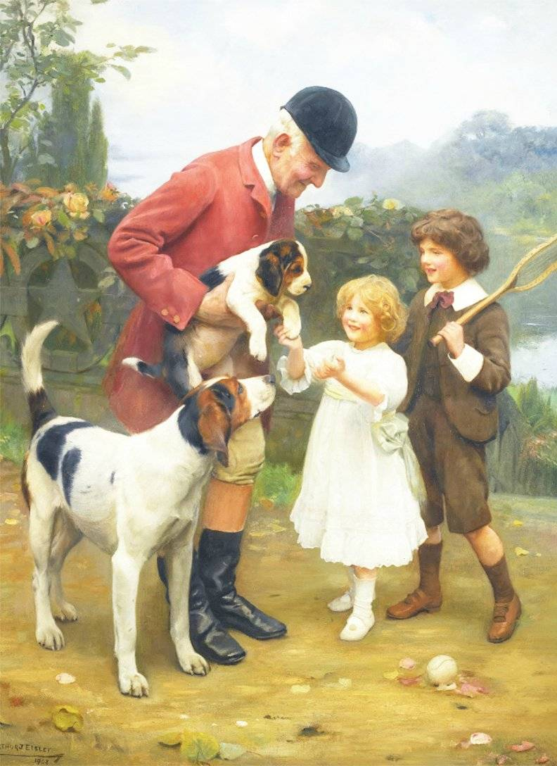 sheep herder by  Arthur John Elsley vintage art Girl with Collie and puppys
