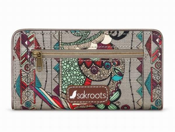 """NWT Sakroots Slim Wallet Charcoal Spirit Desert Coated New 6.5/""""x3.5/"""" SHP IN/'TL"""