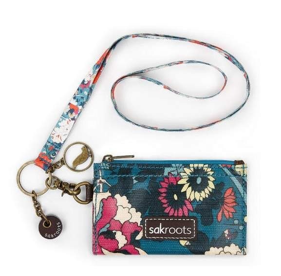 0c10ec470822 Details about NWT Sakroots ID Lanyard Card Case Keychain Coin Purse Teal  Flower Power SHP INT