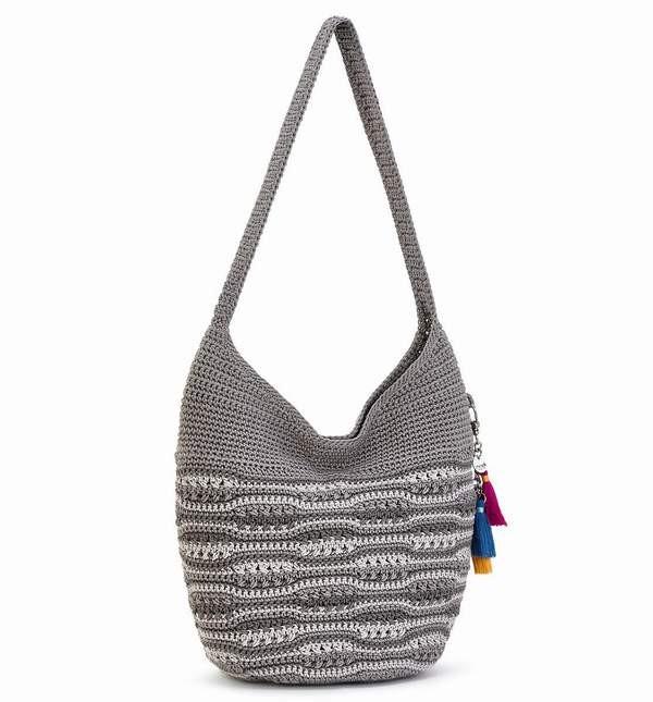 NEW NWT THE SAK COLLECTIVE Navy Stripe Crochet Tassels Shoulder Bag Hobo