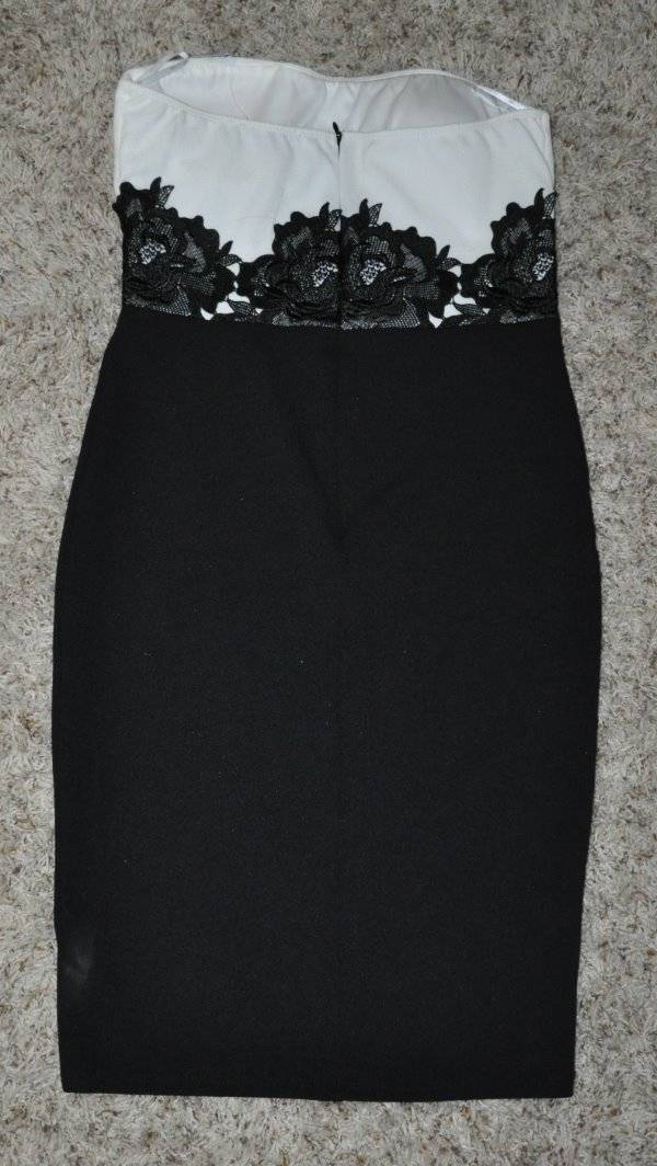 34a32c03f4e Details about NWT-Womens Love Culture Black   White Floral Lace Strapless  Bodycon Dress-size L