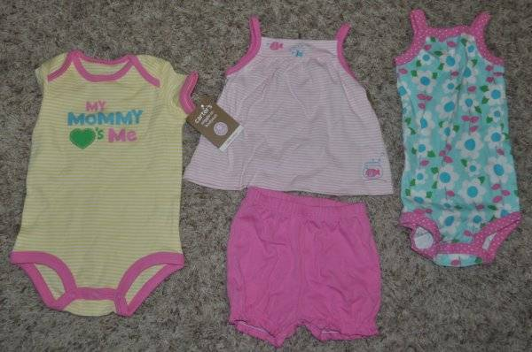 Carter/'s NWT 3M Infant Girl 2Pc Tank Top Short Set $34