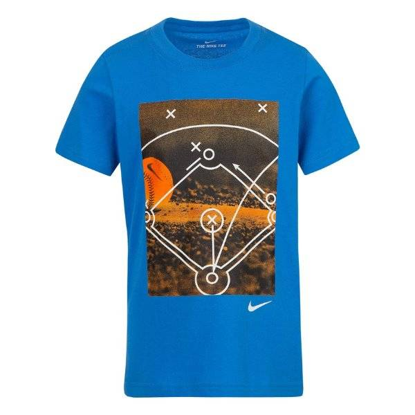Details about NEW Boys Nike Blue Photo Baseball Diamond Short Sleeve Crew Tee Shirt Top sz 4