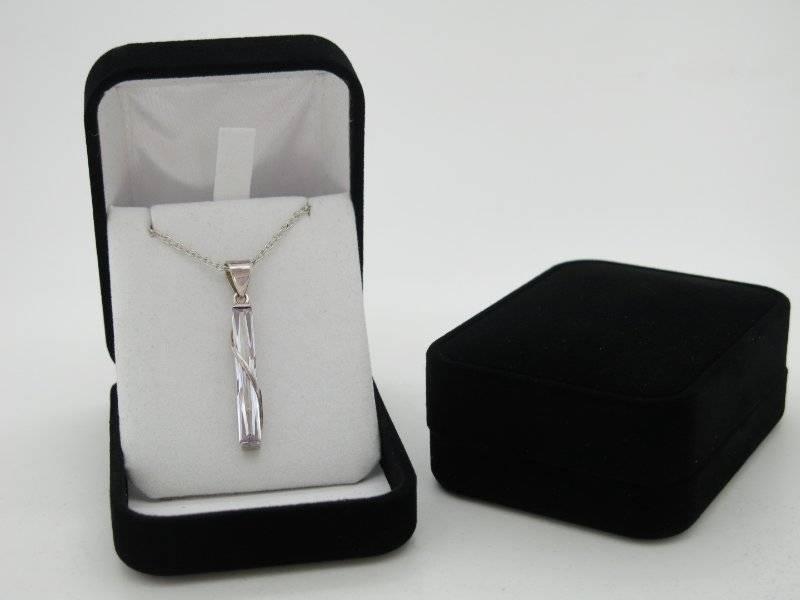 Velvet Pendant Box  Luxury Black Flock Drop Earring Jewellery Box