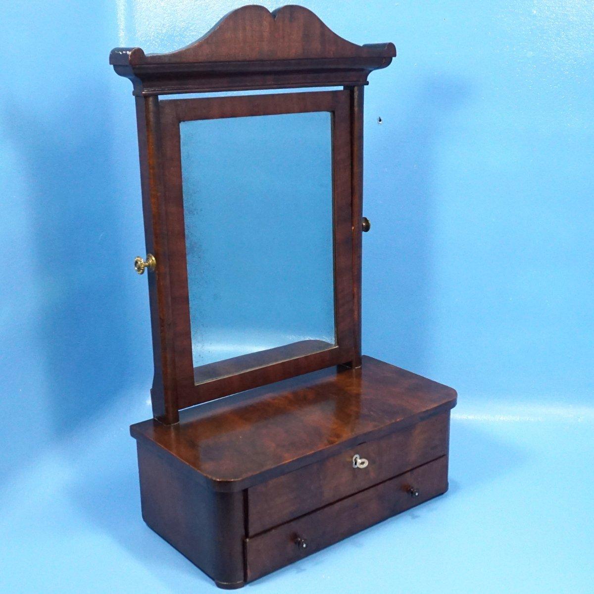 Antique German Table Top Vanity Mirror 2 Drawers Mahogany C1890 Ebay