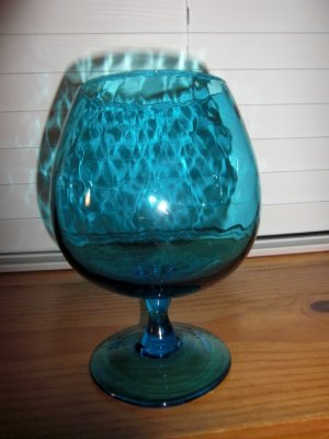 Vintage Beautiful Large 8 Optic Teal Blue Brandy Snifter Vase Ebay