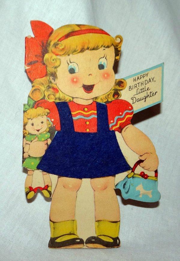 Vintage 1940s Birthday Card Little Girl W Real Felt Dress Die Cut Ebay