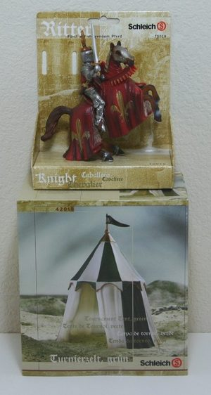 NEW SCHLEICH #42018 MEDIEVAL SET GREEN TOURNAMENT TENT KNIGHTS JOUSTING GAMES