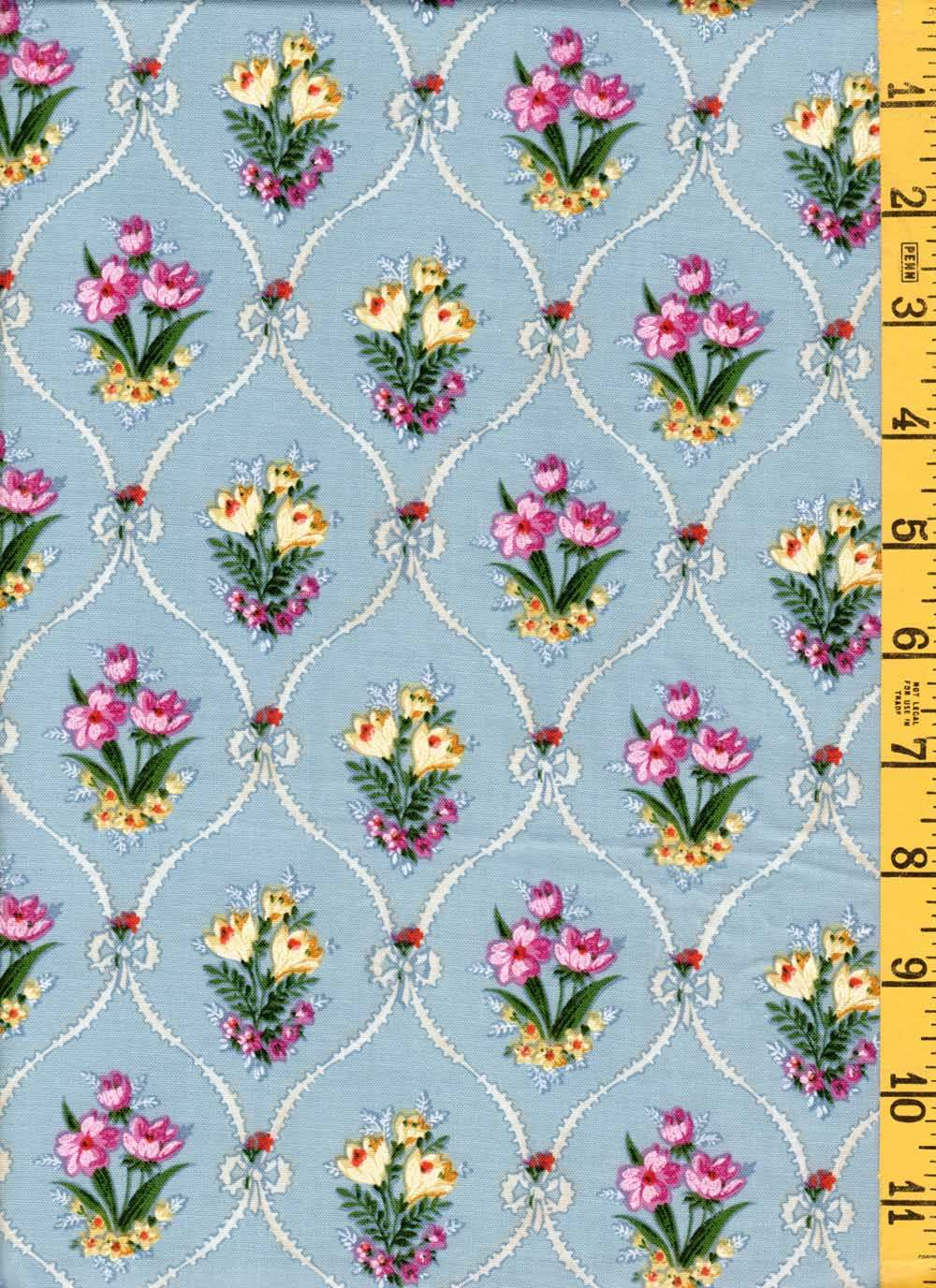 White Flower Bouquets w// Roses on Dark Blue Quilting Fabric by Yard  #118