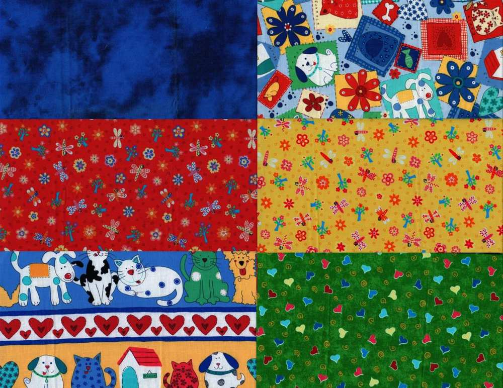 3yd quilting sewing cotton children kids fabric six 1 2