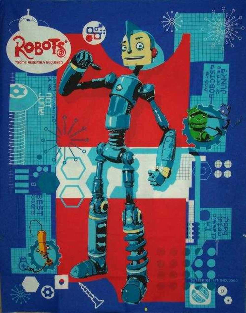 New cotton sewing fabric vip robot childrens 39 quilt panel for Robot quilt fabric