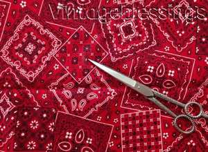 5+ yards of VINTAGE 30s Red Bandana Cotton Fabric QUILT