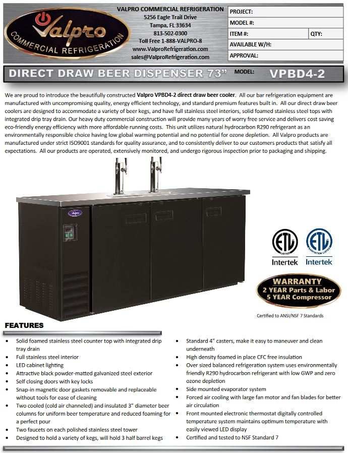 VALPRO VPBD4-2  DIRECT DRAW BEER DISPENSER 73″ 4 TAPS NSF 2 TOWERS