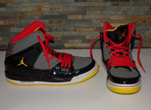 NIKE JORDAN AIR Boys 7 y youth high tops Shoes red black yellow | eBay