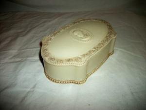 Plastic Luxor Cameo Box Vintage Powder Box Ivory Trinket Box